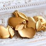 Vintage Aged Brass Apple Charms - l..