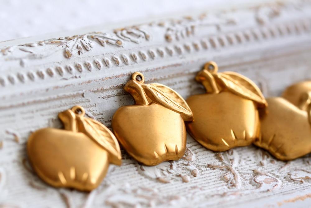 Vintage Aged Brass Apple Charms - last lot