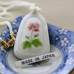 Vintage White Porcelain Floral Pendant with Silk Cord Necklace