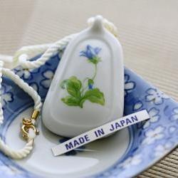 Vintage White Porcelain Flower Pendant with Silk Cord Necklace