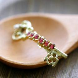 Vintage Skeleton Key Pin Brooch with Rhinestones